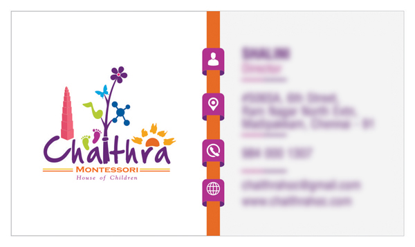 Branding : Business Card Design - Chaithra Montessori School, Chennai