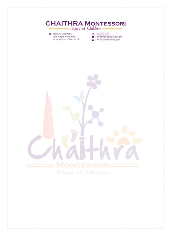 Branding : Letter Head Design - Chaithra Montessori School, Chennai