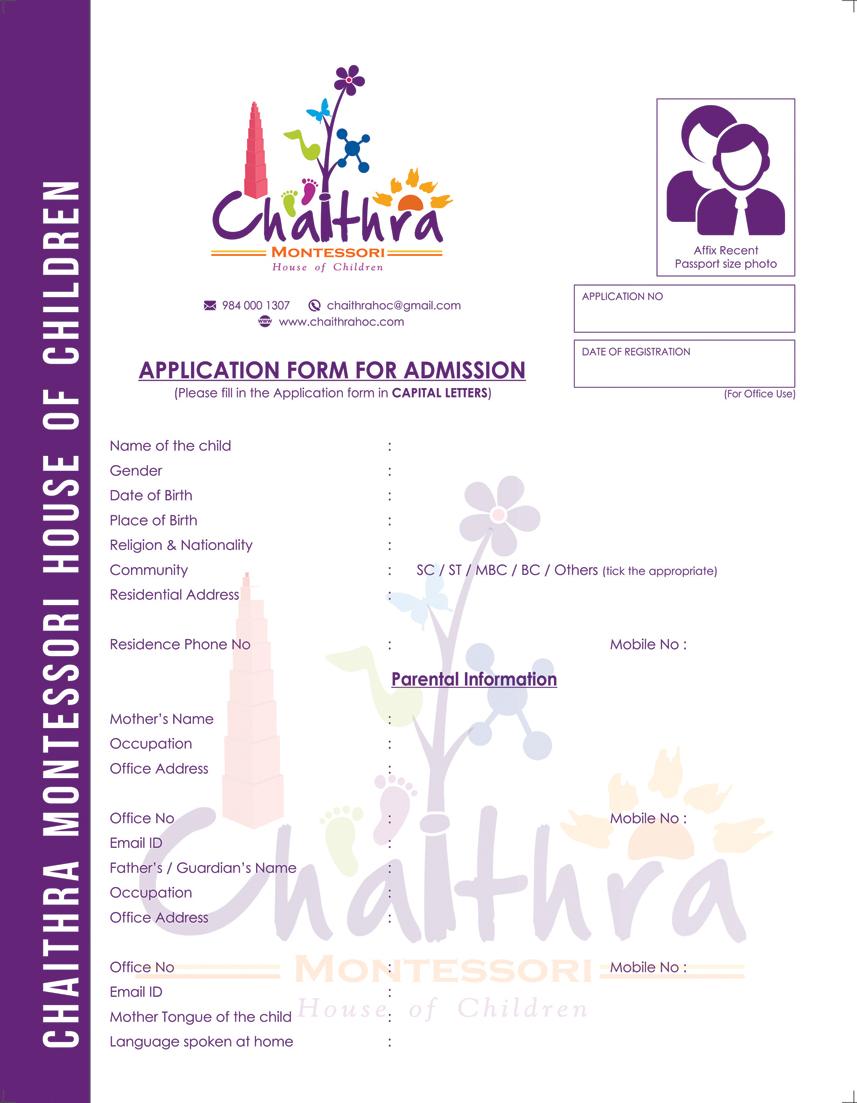 Branding : Application Design - Chaithra Montessori School, Chennai
