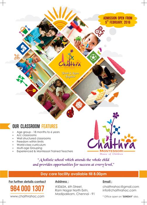 Pamphlet Design - Chaithra Montessori School, Madipakkam, Chennai
