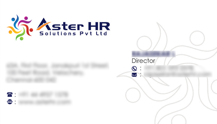 Business Card - Aster HR Solutions Pvt Ltd