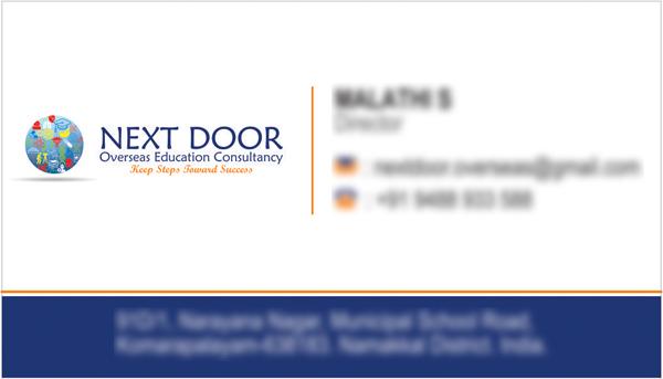 Business Card - NEXT DOOR Overseas Education Consultancy, Chennai