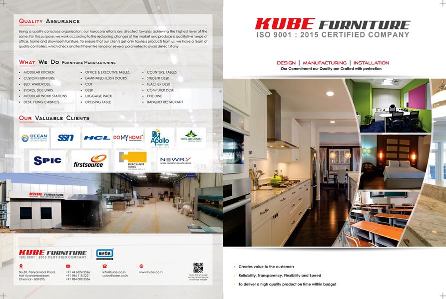 Brochure Designing Services - Kube Furniture, Mel Ayanambakkam, Chennai