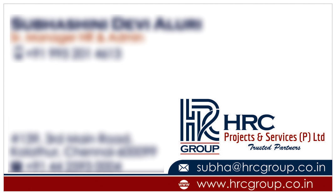 Business Card Designing Services - HRC Projects & Services Private Limited, Kolathur, Chennai
