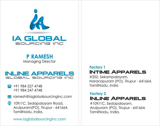 Branding Package, Business Card - IA Global Sourcing Inc, Arulpuram(PO), Tirupur.