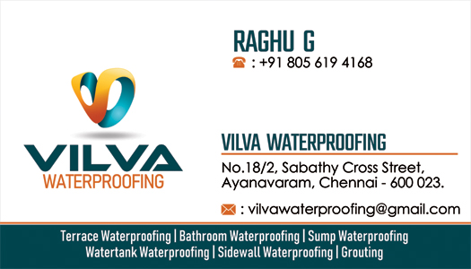 Branding Visiting Card - Vilva Waterproofing Contractor, Ayanavaram, Chennai