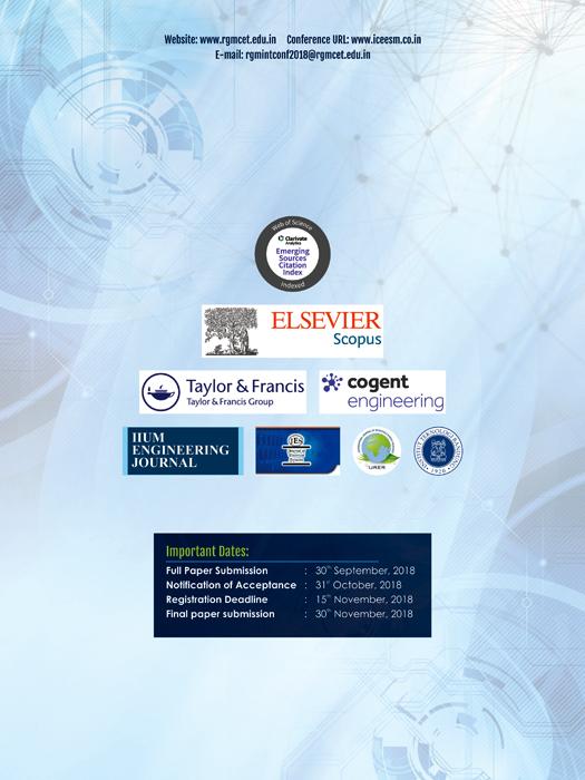 Brochure Designing Service - ICEESM 2018 - R.G.M College of Engineering & Technology, Kurnool, Andhra Pradesh.