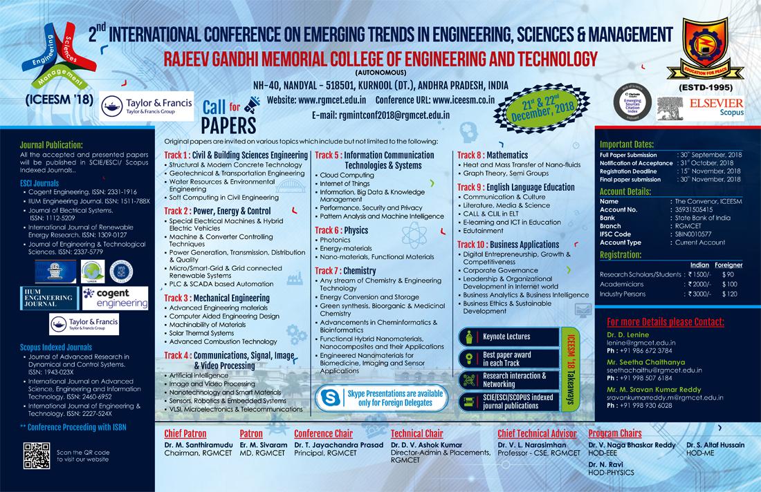 Wall Poster Designing Service - ICEESM 2018 - R.G.M College of Engineering & Technology, Kurnool, Andhra Pradesh.
