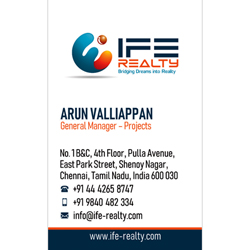 Business Card Designs - IFE Realty, Shenoy Nagar, Chennai