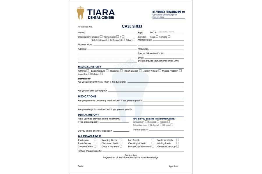 Logo Designing Services, Application Form - Tiara Dental Center, Mogappair West, Chennai