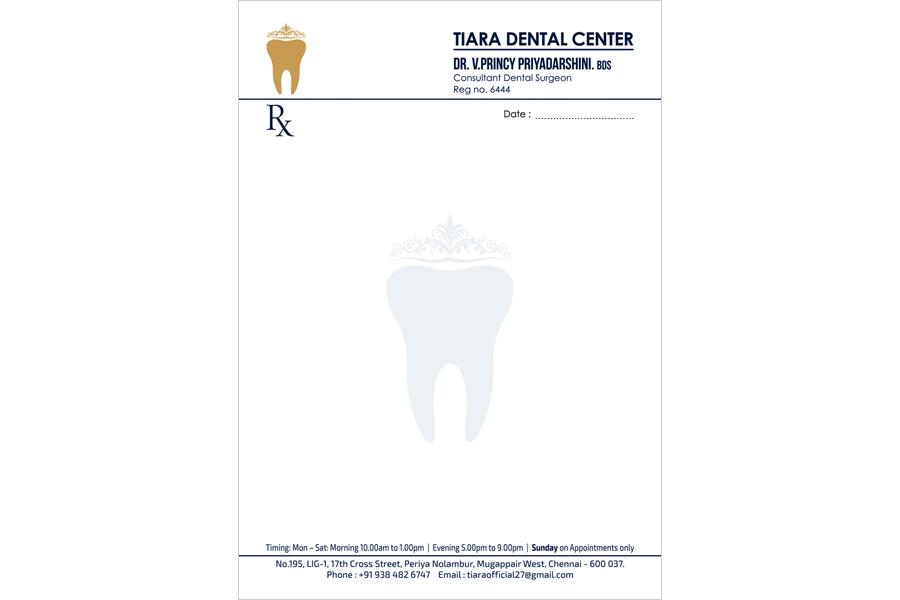 Logo Designing Services, Letter Head - Tiara Dental Center, Mogappair West, Chennai
