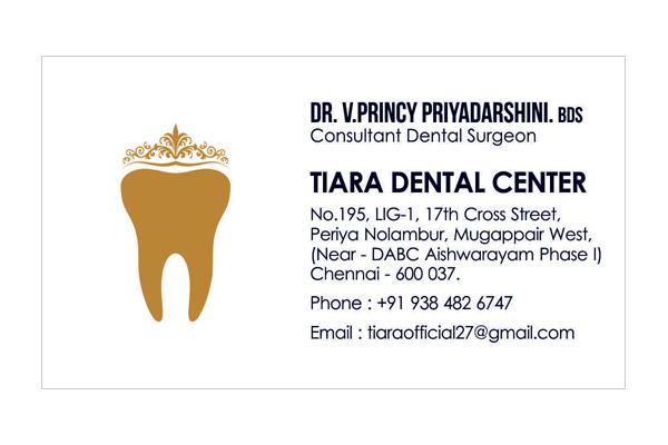 Logo Designing Services, Business Card - Tiara Dental Center, Mogappair West, Chennai.