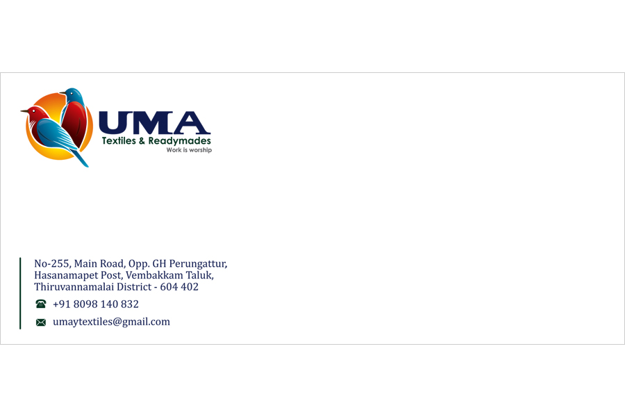 Brand logo package, Letter Cover - UMA Textiles & Readymades, Vembakkam, Taluk, Tiruvannamalai.