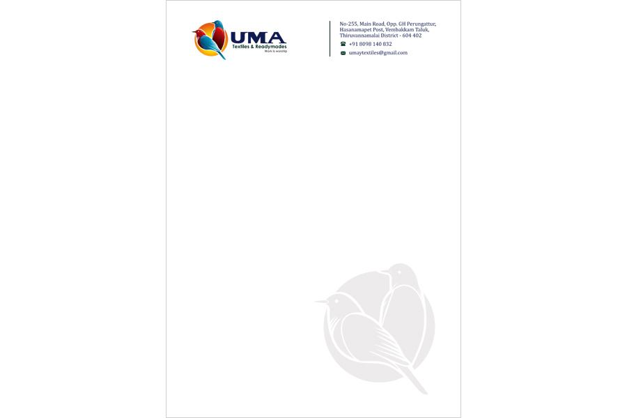 Brand logo package, Letter Head - UMA Textiles & Readymades, Vembakkam Taluk, Tiruvannamalai.