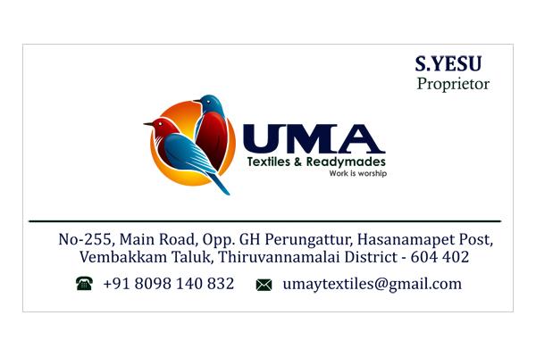 Brand logo package, Business Card - UMA Textiles & Readymades, Vembakkam Taluk, Tiruvannamalai.