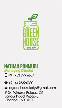Brand Business Card Desinging Service. La Green House -Cafe & Bistro, Kellys, Kilpauk, Chennai