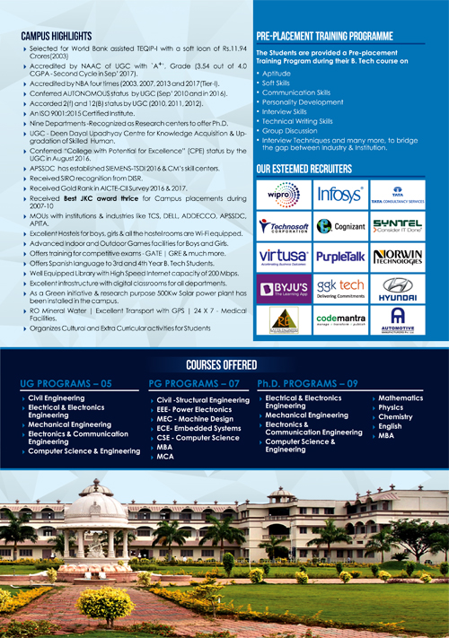 Brochure Desining Service - Placements 2019 - R.G.M College of Engineering & Technology, Kurnool, Andhra Pradesh