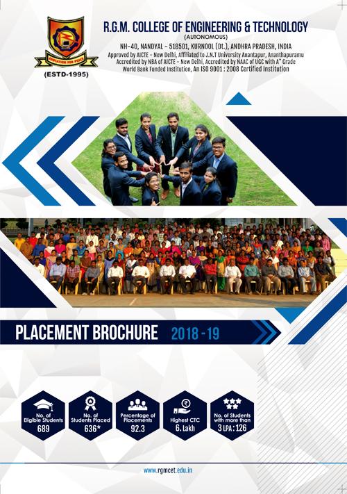 Brochure Designing Service - Placements 2019 - R.G.M College of Engineering & Technology, Kurnool, Andhra Pradesh