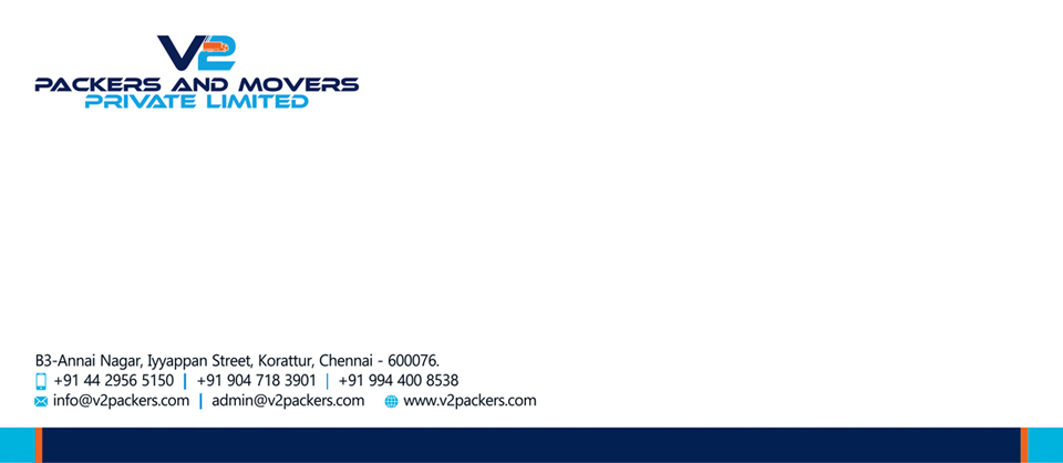 Letter Head Desinging Service-V2 Packers And Movers Private Limited Korattur, Chennai