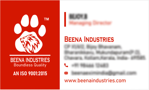 Brand Logo Designer services - Business Card for Beena Exports And Imports, Kollam, Kerala