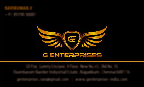Business Card Designing Services - G Enterprises, Alapakkam, Chennai.