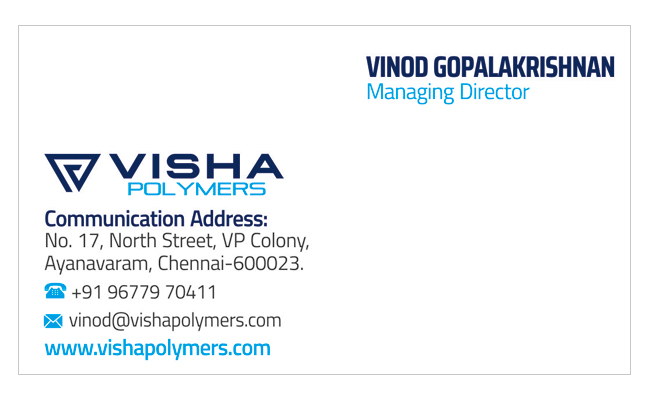 Brand Logo Designing Services - Business Card, Visha Polymers, Ayanavaram, Chennai.