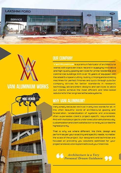 Brochure Designing Services - Vani Alumini works, Thanjavur, India.