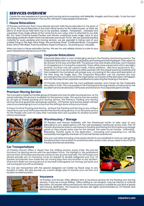 Brochure Designing Services - V2 Packers And Movers Private Limited, Korattur, Chennai.