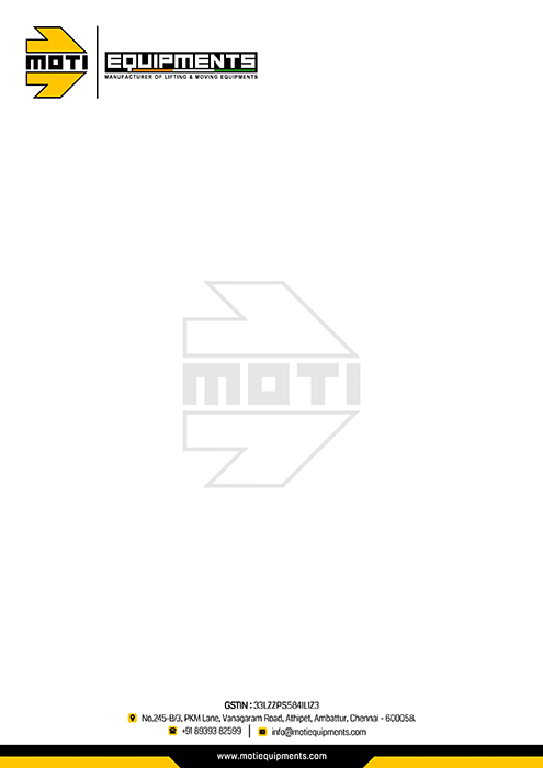Business Card Designing Services - Moti Equipments, Ambattur, Chennai.